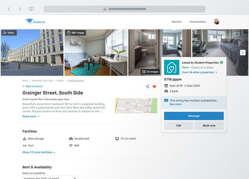 A house profile page on sturents.com with a photo gallery, videos, 360 images, contacts and booking options.